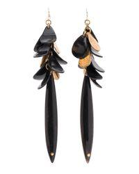 Ashley Pittman - Black Dark Horn Pigana Spike Drop Earrings - Lyst