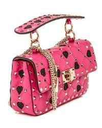 Valentino Small Pink Hearts Rockstud Spike Chain Bag