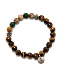 Eleventy | Brown And Beige Beaded Stretch Bracelet for Men | Lyst