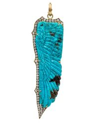 Sylva & Cie - Blue Carved Turquoise And Diamond Feather Pendant - Lyst