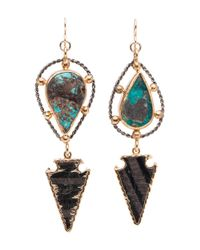 Devon Leigh - Multicolor Mixed Metal Turquoise Arrowhead Drop Earrings - Lyst