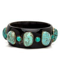 Ashley Pittman - Multicolor Michezo Turquoise-studded Dark Horn Bangle - Lyst