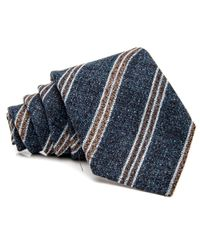 Kiton | Blue And Chocolate Stripe Tie for Men | Lyst