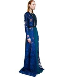 Self-Portrait - Blue Thea Lace-paneled Long-sleeve Maxi Dress - Lyst
