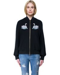 Stella McCartney - Black Embroidered Wool Bomber Jacket - Lyst