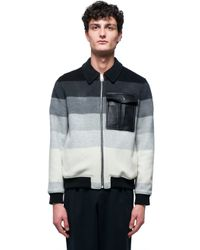 J.W.Anderson - Blue Striped Wool Bomber for Men - Lyst