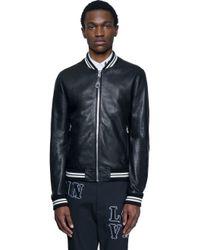 Dolce & Gabbana - Black Leather Bomber Jacket for Men - Lyst