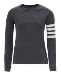 Thom Browne - Gray Stripe Sleeve Cashmere Knit - Lyst