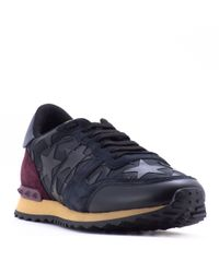 Valentino - Black Rockrunner Starstudded Leather Sneakers for Men - Lyst