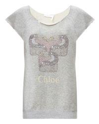 Chloé - Gray Cotton Short Sleeved Sweatshirt - Lyst
