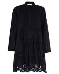 Chloé | Black Cotton Poplin Dress | Lyst