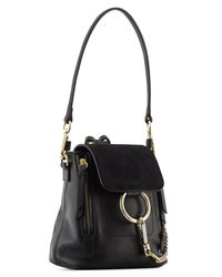 Chloé - Black Suede & Soft Leather Small Faye Backpack - Lyst