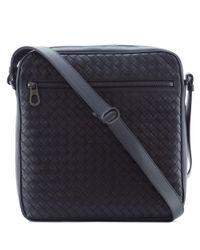 Bottega Veneta | Black Intrecciato Leather Cross Body Bag for Men | Lyst
