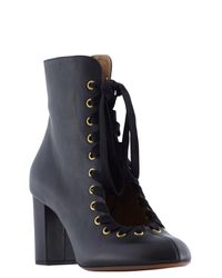 Chloé - Black 70mm Leather Miles Booties - Lyst