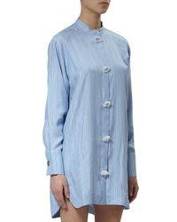 J.W.Anderson | Blue Oversize Striped Silk Dress | Lyst