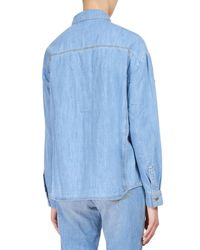 KENZO - Blue Denim Shirt With Cotton Patches - Lyst