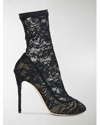 Dolce & Gabbana - Black Coco Stretch Lace Booties - Lyst