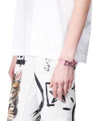 Dolce & Gabbana - Pink Crystal Monogram Leather Bracelet - Lyst
