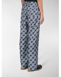 Fendi - Blue Check Print Silk Trousers - Lyst