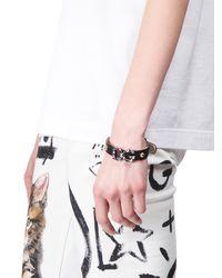 Dolce & Gabbana - Black Crystal Monogram Leather Bracelet - Lyst