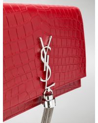 Saint Laurent - Red Kate Chain And Tassel Wallet - Lyst