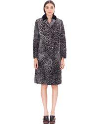 fbd06f9bf Lyst - Prada Animalier Printed Fur Coat