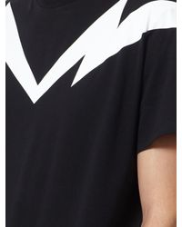 Neil Barrett Black Horizontal Maxi Lightning Bolt T-shirt for men
