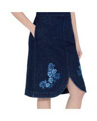 Stella McCartney - Blue Denim Threadwork Skirt - Lyst