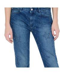 Stella McCartney - Blue Fringed Stars Boyfriend Jeans - Lyst