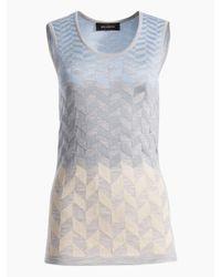 St. John - Gray Degrade Herringbone Jacquard Knit Shell - Lyst