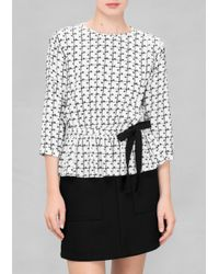 & Other Stories | White Polka Dot Check Blouse | Lyst