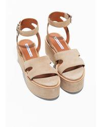 & Other Stories - Natural Suede Ankle-strap Platform - Lyst