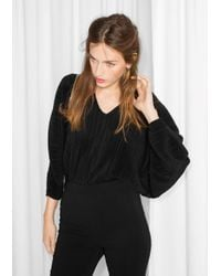 & Other Stories - Black Pleated Body Top - Lyst