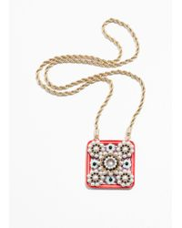 & Other Stories - Red Square Amulet Necklace - Lyst