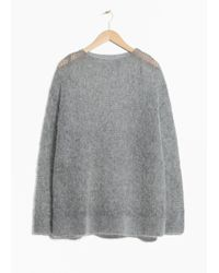& Other Stories Gray Fuzzy Mohair Blend Knit