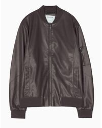 Stradivarius   Brown Leather-look Bomber Jacket for Men   Lyst