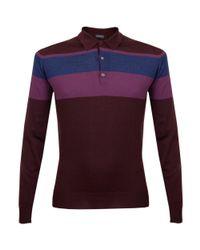 John Smedley | Purple Pelton Port Stripe Polo Shirt for Men | Lyst