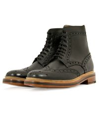 Grenson | Fred Calf Black Brogue Boots 5068 for Men | Lyst