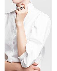 Alexander McQueen - Metallic Embellished Double Skull Ring - Lyst