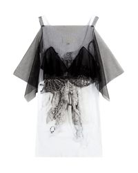 Maison Margiela - Black Printed Cotton Top With Tulle - Lyst