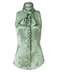 L'Wren Scott | Green Mint/black Tie Neck Silk Top With Ruffle | Lyst
