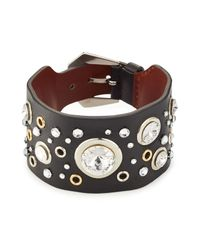 Alexander McQueen | Black Embellished Leather Cuff | Lyst
