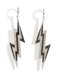 Lynn Ban | Metallic Sterling Silver Lightening Bolt Earrings With Diamonds | Lyst