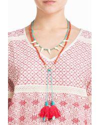Aurelie Bidermann | Metallic Squaw Necklace With Gold-plated Stones And Turquoise | Lyst