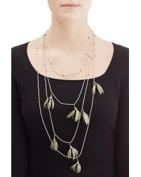 Valentino | Metallic Feather And Bead Embellished Necklace | Lyst