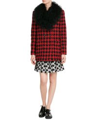 Boutique Moschino | Red Dogstooth Wool Coat With Shearling Collar | Lyst