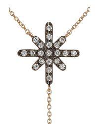 Diane Kordas - Metallic Starburst 18kt Rose Gold Necklace With White Diamonds - Lyst