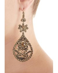 Alberta Ferretti - Metallic Embellished Chandelier Earrings - Lyst