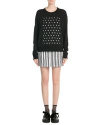 Marc By Marc Jacobs | Black Googley Eye Embellished Cotton Sweatshirt | Lyst