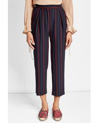 See By Chloé - Blue Cropped Striped Pants - Lyst
